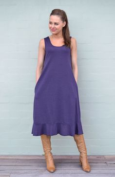 New longer A-line dress with higher neckline than the original swing dress, and invisible side pockets as well as extra length in a flounce hem. Gorgeous on its own, or layered with a scoop top under and crop cardi over the top.Dress Length 107cm