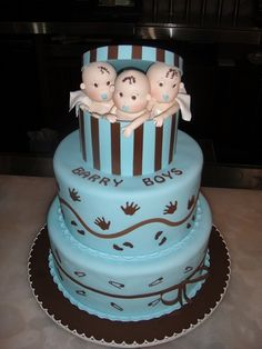 Baby Shower Cakes for Triplet Boy