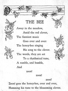 "https://flic.kr/p/cvtB2A | The Bee | ""Sing, Little Birdie"" by Gertrude E. Heath, 1928 by the Saalfield Publishing Company.  Black and white illustrations by Helene Nyce, color bookplates by Jan Cragin.  Cover by Fern Bisel Peat."