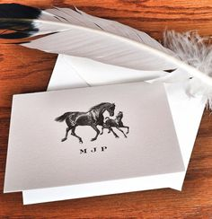 Personalized Horse Stationery Set of 10 300 by VeronicaFoleyDesign.  Beautiful on #reichpaper #savoypaper