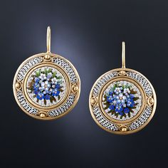 19th Century Roman Micro-Mosaic Vermeil Earrings