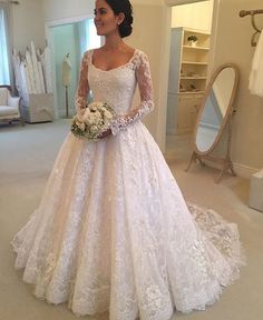 Cheap vestido de noiva, Buy Quality de noiva directly from China sleeved wedding Suppliers: Hot Robe de mariage Elegant White Lace A-Line Wedding Dresses 2017 Sheer Long Sleeve Wedding Gown Bride Dress Vestido de noiva Muslim Wedding Dresses, Affordable Wedding Dresses, Elegant Wedding Dress, Best Wedding Dresses, Bridal Dresses, Wedding Gowns, Tulle Wedding, Bridesmaid Dresses, Wedding Venues