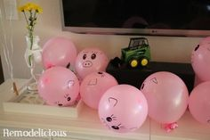 """Little piggies"" cheap & easy DIY party decor for a farm or tractor themed birthday party. Makes a great take-away party favor and activity as well... Have the kids corral the pigs into a ""pen"". Plenty of more ideas with source links."
