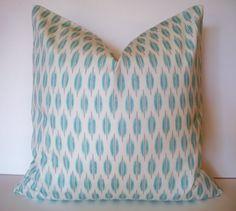 Aqua Gray Ikat Decorative Pillow Cover 16 18 20 by linenandoak