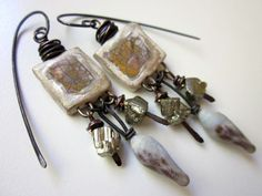 Antimony - primitive white and silver luster ceramic window squares, pyrite nuggets, pale lavender lampwork glass drop, and copper earrings by LoveRoot