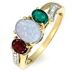 Jared - Lab-Created Opal Three Stone Ring Yellow Gold
