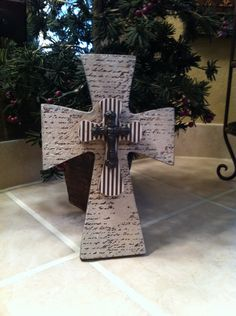 Small Wood Cross with Brown and Creme Designer Paper. $20.00, via Etsy.