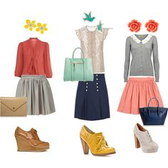 skirts & ankle booties, created by mindy-nanos.polyvore.com