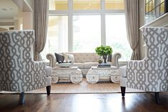 Amanda Carol Interiors - Crest Court. Love the fabric on these chair backs.