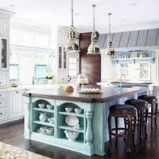 FRENCH COUNTRY COTTAGE: French Cottage Kitchen Inspiration - Love the shelves at the end of the island, especially the detail around them. I would change the island color to a bit more french blue Mint Kitchen, Kitchen Colors, New Kitchen, Kitchen Decor, Kitchen Ideas, Kitchen Designs, Kitchen Interior, Decorating Kitchen, Kitchen Layout