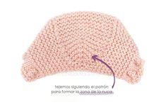 Capota de bebe de punto bobo de lana tejida a dos agujas - Patrón y tutorial 65136b2a485