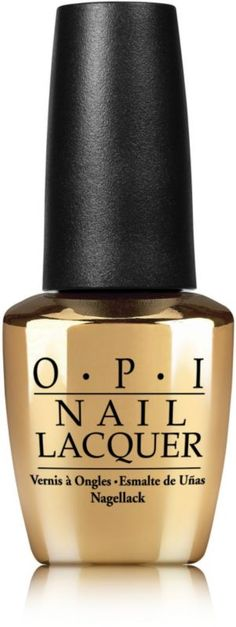 OPI Gwen Stefani Don't Speak 18K Gold Top Coat with gold leaf flakes dusted with iridescent glitter speak volumes of sophistication..