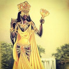 I bet all of you can guess who this is, Oshun. She is filled with expensive jewels and luxurious yellow dress. Oshun as seen here, is admiring herself in the mirror.