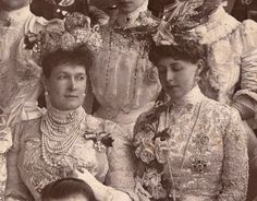 Grand Duchess Maria Pavlovna Romanova of Russia (the Elder) and niece,Crown Princess Marie of Romania at the wedding of Prince Christian of Denmark (later King Christian X ) and Duchess Alexandrine of Mecklenburg-Schwerin.