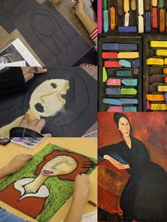 Kids use a simple drawing technique that results in these stunning Modigliani chalk portraits. One of my favorite art lessons. 6th Grade Art, Sixth Grade, Atelier D Art, Ecole Art, School Art Projects, Art Lessons Elementary, Chalk Pastels, Art Graphique, Pastel Art