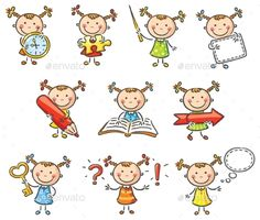 Buy Girl Characters by katya_dav on GraphicRiver. Little girl character with different objects and signs Easy Drawings, Cartoon Drawings, Doodles Bonitos, Children Sketch, Quilled Paper Art, Cute Fairy, Art N Craft, Girls Characters, Cartoon Characters