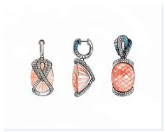 Earring/pendant drawn with pave in the back and salmon pink gem High Jewelry, Stone Jewelry, Pendant Jewelry, Jewelry Art, Jewelry Illustration, Hand Illustration, Jewelry Design Drawing, Gouache, Jewellery Sketches