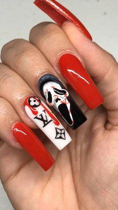 Holloween Nails, Halloween Acrylic Nails, Blue Acrylic Nails, Halloween Nail Designs, Diy Halloween, Bling Nails, Swag Nails, Coffin Nails, Gel Nails