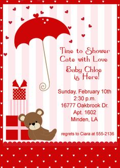 Printable ValentineS Baby Shower Invitation  Red And Pink Rose