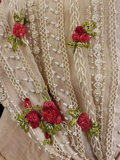 Idea for curtains: add a few random ribbon flowers____ Lesage for Cristóbal Balenciaga, Organza and silk decorated with ribbon work, lace and bead embroidery; lined with silk crepe. Couture Embroidery, Silk Ribbon Embroidery, Hand Embroidery, Embroidery Designs, Art Du Fil, Shabby Chic, Techniques Couture, Passementerie, Lace Curtains
