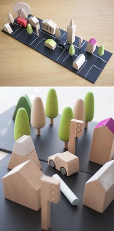 Japanese Kiko + makes wooden toys , like this mini-city with famous buildings from London. The black tiles are painted with chalkboard paint so That You can paint your own roads.