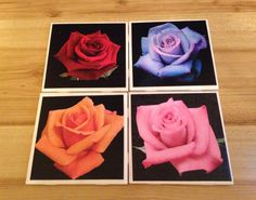 Ready to Ship, Rose Ceramic Tile Drink Coasters, Colored Roses Drink Coasters, Wedding Gift Drink Coasters, Bridal Gift, Gift for Mom, Gift - pinned by pin4etsy.com