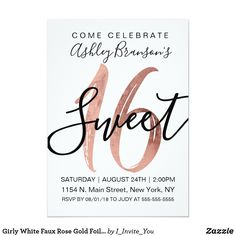 Shop Girly Black Blush Pink Rose Gold Foil Sweet 16 Invitation created by I_Invite_You. Personalize it with photos & text or purchase as is! Sweet Sixteen Invitations, Elegant Invitations, Birthday Invitations, Birthday Cards, Wedding Invitations, Shower Invitations, Invitation Cards, Invitation Ideas, Sweet 16 Party Decorations