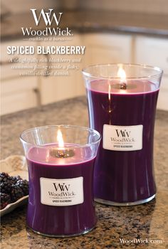 SPICED BLACKBERRY: A delightfully rich blackberry and cinnamon filling inside a flaky, vanilla-drizzled Danish. Woodwick candles feature a natural wooden wick that crackles as it burns! #blackberry