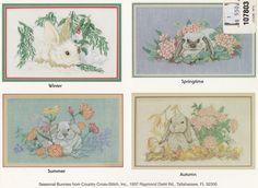 Seasonal Bunnies Country Cross Stitch Pattern by LucyGooseyDolls