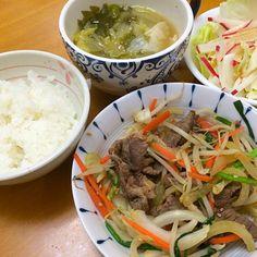 牛肉のプルコギ*レタスサラダ*ワンタンスープ*ごはん - 12件のもぐもぐ - 夕ご飯 by karintou2525