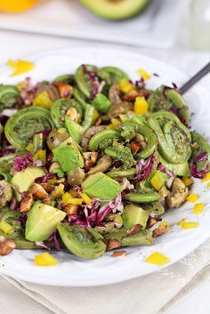 Fiddleheads, Green Olives and Almond Salad - The Healthy Foodie