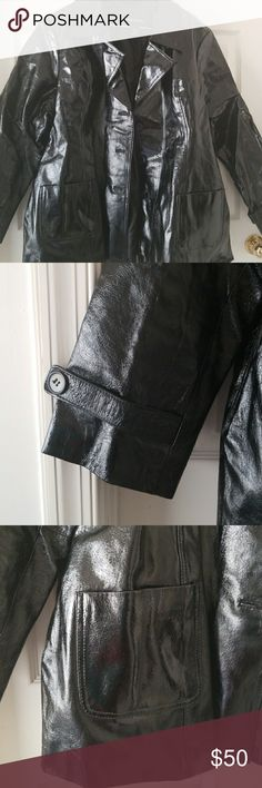 BLACK PATENT LEATHER RAINCOAT Fashionable,  fully lined, 3 button closure with pockets and straps to accent is a great piece for your closet and inner fashionista! Worn only twice Lane Bryant Jackets & Coats