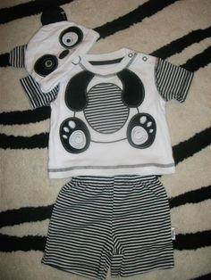 Boys black n white panda outfit perfect partner for the panda booties :D