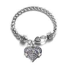 Middle Sis Pave Heart Charm Bracelet