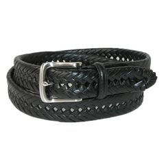 Burnished Leather Woven Belt by Tommy Hilfiger. Thick leather braid