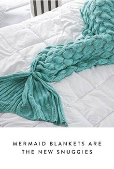 Mermaid blankets, single-serve crocheted blankets (with fabulous extraneous fins) are blowing up all over sites like Etsy. You can buy a premade one for yourself or your kiddo, or you can score a digital pattern. We're on love.