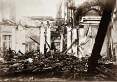 On Nov. 19, 1904, just two weeks shy of the closing of the 1904 World's Fair, the Missouri Building was destroyed in a fire caused by a boiler explosion. It was the largest, costliest and most elaborately furnished of all the state halls at the Fair. The bell from the U.S. Missouri, donated through contributions made by Missourians, was heroically rescued by U.S. Marines cheered on by the crowd who witnessed the blaze. (Missouri History Museum)