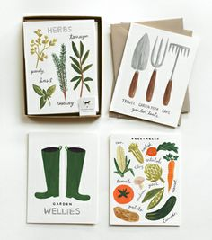 Homegrown Garden Set, Cards, $18.00, Boxed set of 8, 4 designs (2 of each), paired with khaki colored envelopes