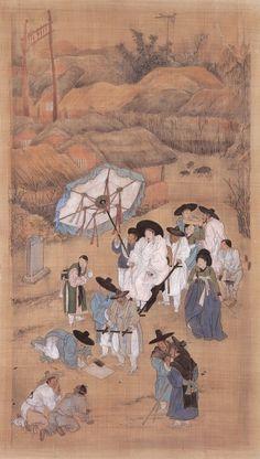 (Korea) 노상송사, 행려풍속도 by Kim Hong-do (1745- 1806).