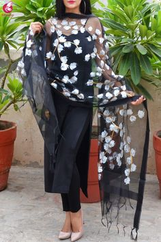Black Organza Handpainted White Floral Stole