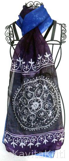 Hand painted silk sari scarf with mandala motif by KavitaKriti https://www.etsy.com/listing/160948897/best-selling-items-mandala-art-silk-sari?ref=shop_home_active