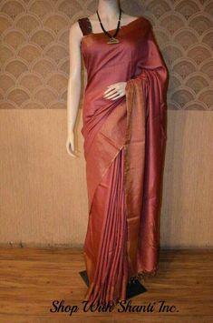 Tussar Silk Saree with Blouse Piece Handloom Traditional Tassar Sari Silk Saree Kanchipuram, Banarsi Saree, Formal Saree, Sari Dress, Saree Blouse, Simple Sarees, Saree Trends, Sari Blouse Designs, Colors