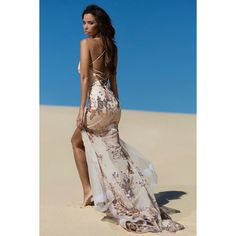 Tinaholy couture t1713 rose gold lace up mermaid gown dress ($440) ❤ liked on Polyvore featuring dresses, long dresses, couture dresses, rose gold dress, beaded dress and sequin dress