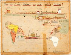 Map from 11 year old Fritz documenting his family's journey from Germany to Uruguay.