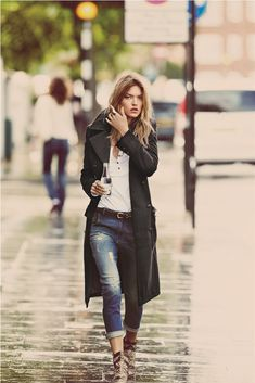 Classic casual with black trench