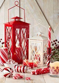 Lanterne rosse e bianche - Simpatiche lanterne in stile nordico per la casa.