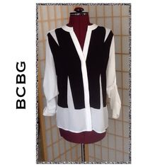 "BCBG MAXAZRIA ""Jaxie"" Blocked Blouse FIRM This blouse can be worn with long sleeves or gathered and buttoned (as illustrated). Front hidden button placket for a really tailored look. Approximately 25"" long. Sleeves are 17"" long when measured extended. BCBGMaxAzria Tops Blouses"
