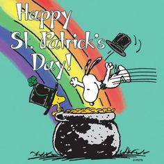 Pot of gold for good luck, shamrocks with Snoopy and Woodstock St Patricks Day Cards, St Patricks Day Quotes, Happy St Patricks Day, Saint Patricks, St Patrick's Day, Snoopy Images, Snoopy Pictures, Peanuts Images, Funny Pictures