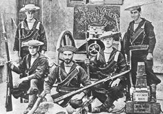British 'bluejackets' posing with a Nordenfeldt gun from HMS Orlando during the Boxer Rebellion; Tientsin, 1900