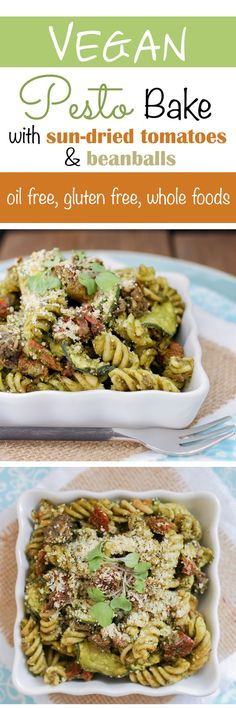 Vegan Baked Sun-Dried Tomatoes, Pesto, Noodles and Zucchini Vegan Foods, Vegan Vegetarian, Vegetarian Recipes, Healthy Recipes, Vegan Pesto, Veggie Recipes, Whole Food Recipes, Cooking Recipes, Vegan Pasta Bake